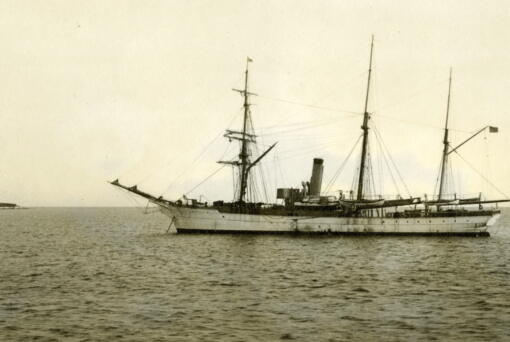In this July 1908 photograph provided by the U.S. Coast Guard Historian's Office, the U.S. Revenue Cutter Bear sits at anchor while on Bering Sea patrol off Alaska. The wreckage of the storied vessel that served in two World Wars and patrolled frigid Arctic waters for decades, has been found, the Coast Guard said Thursday. (U.S.