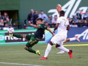 Portland Timbers forward Felipe Mora shoots on goal against Inter Miami in an MLS soccer match at Providence Park on Sunday, Oct. 3, 2021, in Portland, Ore.