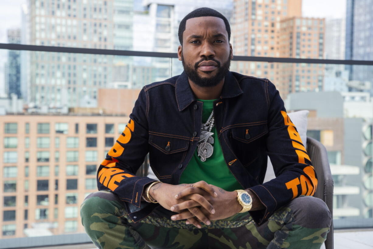 """Meek Mill, seen at the Roc Nation offices in New York on Sept. 22, is a Grammy-nominated rapper. His latest album, """"Expensive Pain,"""" was released Oct. 1."""