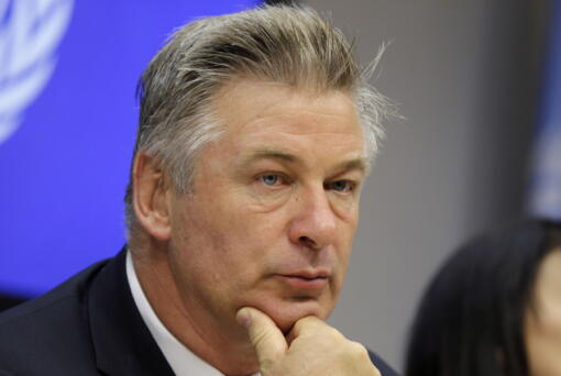 FILE - In this Sept. 21, 2015 file photo, actor Alec Baldwin attends a news conference at United Nations headquarters. A prop firearm discharged by veteran actor Alec Baldwin, who is starring and producing a Western movie, killed his director of photography and injured the director Thursday, Oct. 21, 2021 at the movie set outside Santa Fe, N.M., the Santa Fe County Sheriff's Office said.