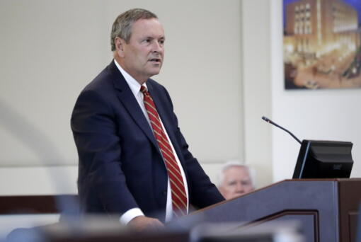 FILE - In this Aug. 28, 2019, file photo, Nashville District Attorney Glenn Funk speaks in Nashville, Tenn. Progressive prosecutors around the country are increasingly declaring they just won't enforce some GOP-backed state laws, a strategy at work in response to some of the most controversial new changes in recent years. Funk has made a habit of resisting GOP-passed laws.