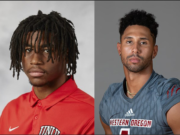 UNLV receiver Zyell Griffin, left, and Western Oregon receiver Justice Murphy