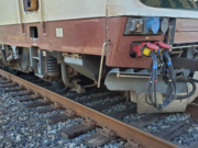 The wheel of an Amtrak train is off the tracks Monday afternoon near Woodland.