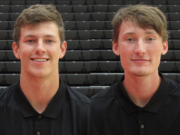 Jackson Clemmer, left, and Blake Asciutto after Camas High graduates who play football at Southern Oregon University.