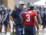 When the Seahawks brought Shane Waldron on board as offensive coordinator this offseason, they were hoping to pull some of what worked so well for the division rival Los Angeles Rams and implement it into a system run by Russell Wilson. The test of how well that's worked for Seattle comes on Thursday, Oct. 6, facing the Rams. (AP Photo/Ted S.