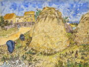 """This image, provided by Christie's, shows Vincent van Gogh's 1888 work """"Wheatstacks,"""" to be offered in the dedicated sale """"The Cox Collection: The Story of Impressionism,"""" in New York, Nov. 11, 2021. The watercolor, seized by the Nazis during World War II is estimated at $20-million to $30-million."""
