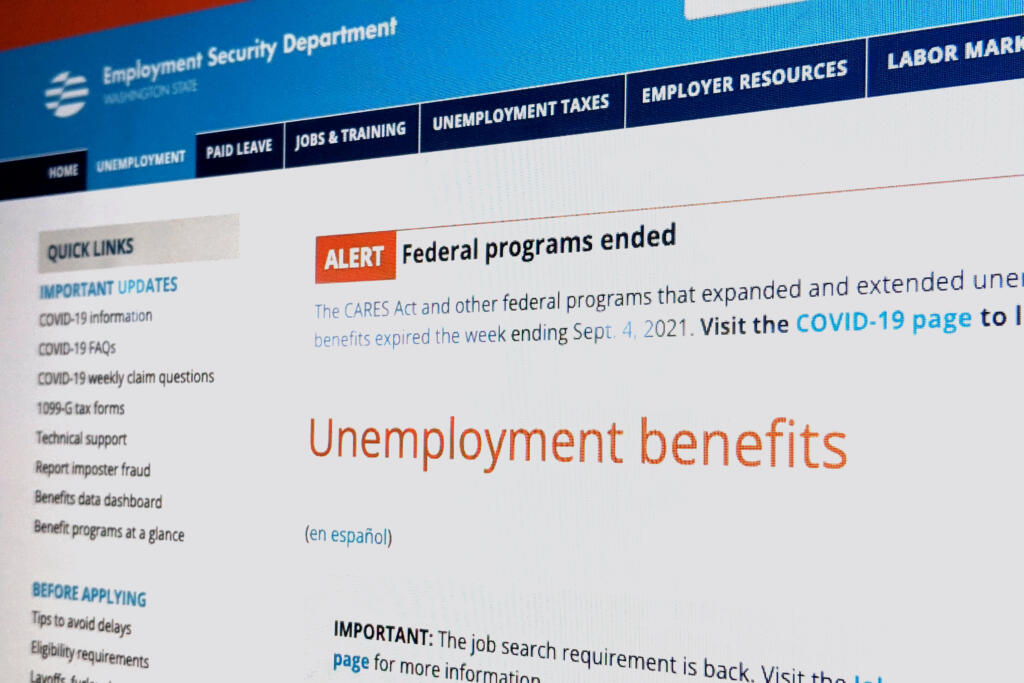 The homepage of the Washington Employment Security Department.