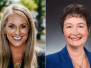 Leslie Lewallen, left, and Jennifer McDaniel are running for Camas City Council.